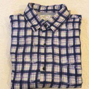 Tasso Elba Island short sleeve silk/linen shirt L